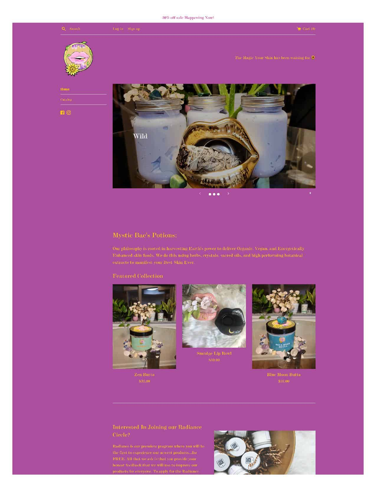 Mystic Bae ShoMystic Bae Homepage Before and after vegan website designp Page Before